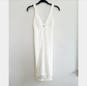 White lace bodycon dress open back cutout